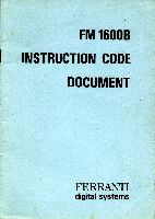 Format of the FN1600B instruction set